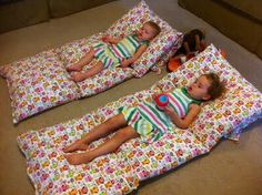 Sew together 4 pillows with cases for simple bed, flip back one pillow while watching tv