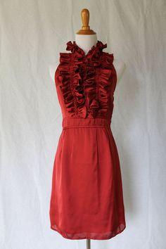 Esley Red Silk Ruffle Front Halter Dress 100% Silk Satin Anthropologie 2 NEW  #Esley #Sheath #Cocktail