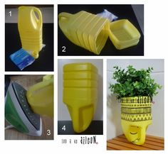 Ideas que mejoran tu vida - Best Pins Live Plastic Bottle Planter, Reuse Plastic Bottles, Plastic Bottle Crafts, Recycled Bottles, Recycled Crafts, Plastic Bags, Diy Para A Casa, Bleach Bottle, Diys