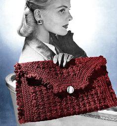 Vintage 1940s Crocheted Ruffled Envelope Clutch Purse Handbag   http://www.etsy.com/listing/87501312/vintage-1940s-crocheted-ruffled-envelope