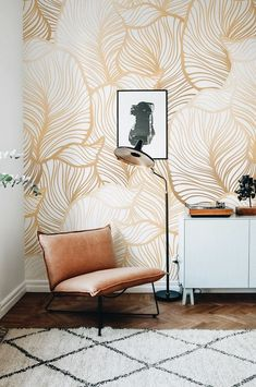 GREY Leaf Wallpaper Exotic leaves Wallpaper Large leaf Wall Mural Home Décor Easy install Wall Decal Removable Wallpaper Home Deco Deco Design, Wall Design, Design Art, Home Design, Interior Design, Design Ideas, Modern Interior, Gold Interior, Traditional Interior