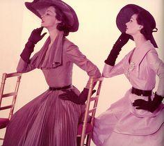 Wearing silk taffeta dresses by Jacques Fath, 1951