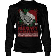 Meowy Christmas Devon Rex Cat Long Sleeve Tees T-Shirts, Hoodies ==►► Click Order This Shirt NOW!