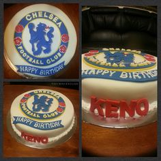 Chelsea FC Birthday Cake - Red velvet cake covered with white fondant, topped off with the Chelsea FC logo also make of fondant and royal icing, having a 3 dimensional effect.