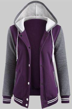 $21.82 Fleece Baseball Hoodie Jacket