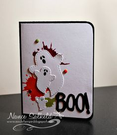 handmade Halloween card from Soul Stampin' ... trio of die cut ghosts on bright grunge splats ... crisp look with lots of white  ...