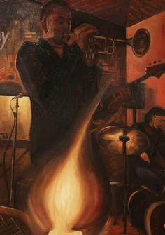 Musicista olio su tela 50x70 cm 150,00 €