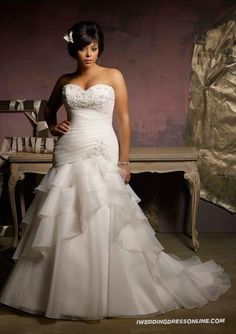 Organza Beaded Embroidery Plus Size A-line Strapless Sweetheart Wedding Dress