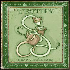 Album artwork by Maťo Mišík www.matomisik.com - Testify — Hra na myš a hada  #cdcover #albumartwork #albumart #coverart #tin #retro #mouse #snake #illustration