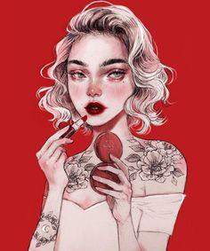 Tattoo Girl Art Illustration Draw Ideas For 2019 Art And Illustration, Illustrations, Cartoon Kunst, Cartoon Art, L'art Du Portrait, Art Du Croquis, Art Mignon, Digital Art Girl, Aesthetic Art