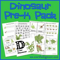 Dinosaur Pre-K/Preschool/Tot Pack -  30 pages of FUN and EDUCATIONAL preschool activities for your kiddos.