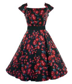 Beautifuly heavy stretch cotton 50's style dress with pretty red rose fabric detail.  Short cap sleeves.  Fitted bodice with flared/panelled lower section.  Black satin belt to clench in waist and invisible zip to side.  Can be worn with a Hell Bunny long petticoat to increase the volume (as in main picture). Petticoat is not included with the dress but available to purchase separately in our shop.   Machine washable  Material : 97% Cotton, 3% Elastic  Length : Knee length