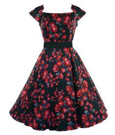 H&R London 50's Black Red Rose Dress