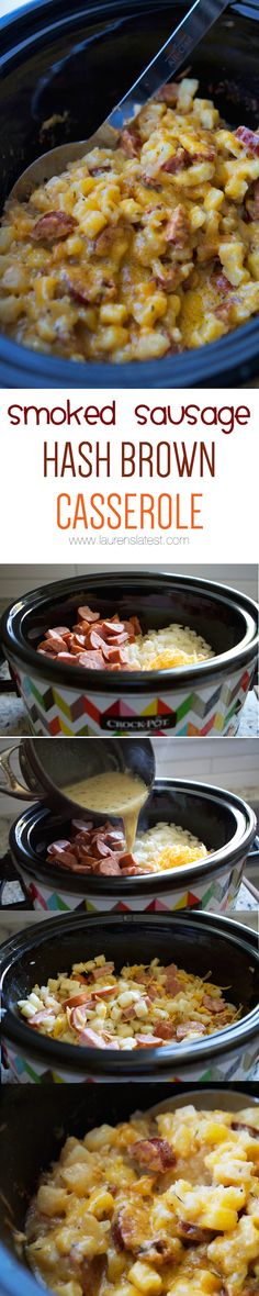 Crockpot Smoked Sausage & Hash Brown Casserole…a fast dinner idea! Crockpot Smoked Sausage & Hash Brown Casserole…a fast dinner idea! Crock Pot Recipes, Crockpot Dishes, Crock Pot Cooking, Pork Recipes, Casserole Recipes, Slow Cooker Recipes, New Recipes, Cooking Recipes, Favorite Recipes