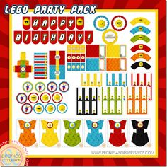 This FREE awesome LEGO Birthday Party Printable Pack includes:     2 inch party rounds  5 inch party rounds  blank tent labels, small and large  cupcake wrappers  favor box  fry boxes  candy bar wrappers  drink/straw flags, and a  Happy Birthday banner    Download comes as a 8.5x11 digital PDF file, which you can print at home or send to your local print shop.