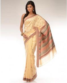 Sandalwood Cream Sari with Paisley Borders