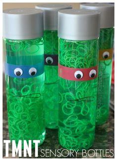 Teenage Mutant Ninja Turtle Sensory Bottle. TMNT Activity for kids. TMNT party idea.