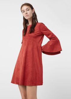 Платье с расклешенными рукавами | MANGO МАНГО