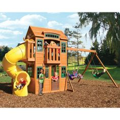 Cedar Summit™ Cedar Valley Lodge Premium Playset - favorite so far Playhouse Outdoor, Outdoor Toys, Outdoor Play, Outdoor Spaces, Commercial Playground Equipment, Playground Set, Outdoor Fun For Kids, Backyard For Kids, Cubby Houses
