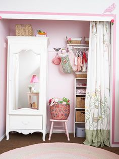 """Create specific places for everything — clothes, linens, and toys — and it won't be a problem,"" Designer Tracy Hutson says. Here she removed the clothing bar and top shelf from one side to accommodate an armoire and cubbies inside a closet."