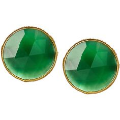 Saachi Accessories 18K Gold Stud Earrings (1.310 RUB) ❤ liked on Polyvore featuring jewelry, earrings, green, stud earrings, 18k earrings, green earrings, 18 karat gold stud earrings and gold earrings