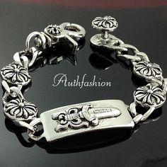 Mens Gothic Punk Metal Silver Celtic Shield Bracelet Chain Bangle Kpop Style X01