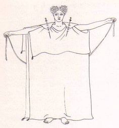 Roman Peplos - In order to have enough material it is recommended to make sure the peplos is as wide as your elbows at least if you stand with outstretched arms