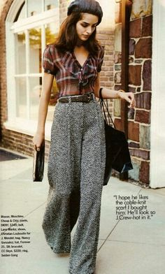 love this 70's style outfit. high-waist, wide-leg sailor pants/trousers, sheer plaid burberry-look blouse & newsboy cap. pretty sure mary tyler moore would have proudly sported this look.