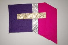 24 Flags, 29 X 49, Purple & Pink Poly China Silk & Gold & Silver