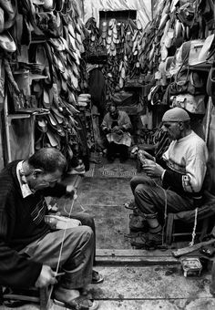Shoe shop in old Cairo , Egypt The Shoe Shop Mexico People, Shoe Cobbler, Leather Repair, Environmental Portraits, People Of Interest, Photoshop Cs5, Shoe Shop, Historical Photos, Old Photos