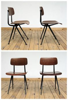 2 Industrial Friso Kramer chairs with black metal structure with plywood seating and back support. School Chairs, Dining Table Chairs, Dining Area, Studio Furniture, Interior Decorating, Interior Design, Take A Seat, Commercial Design, Restaurant Design