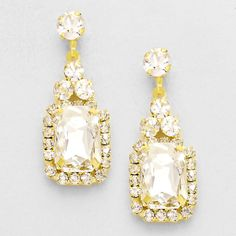 Gold and Clear Classic Sparkle Crystal Earrings