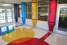 Henderson County Schulen Thelma B Johnson Early Learning Center Henderson Daycare Design, Classroom Design, Classroom Decor, Kindergarten Interior, Kindergarten Design, School Building Design, School Design, School Murals, Art School
