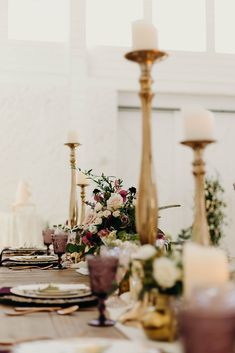 Colored glass and gold candlesticks = 😍 www.a1wedding.com 903-463-7709