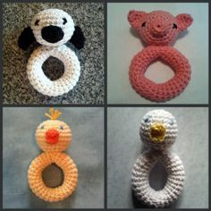 LiL Lamb, Piggie, Chickie or Duckie Baby Rattle Teether Toy