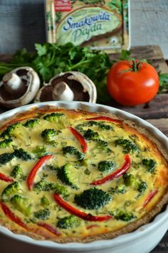 Quiche, Going Vegetarian, Polish Recipes, Bon Appetit, Vegetable Pizza, Food And Drink, Cooking Recipes, Yummy Food, Meals