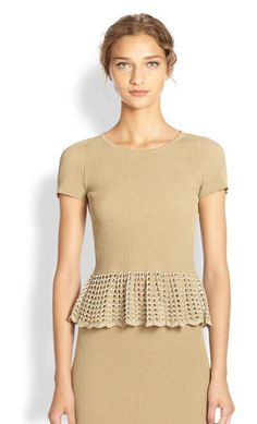 ALEXANDER MCQUEEN nude knit lace peplum top found at Nudevotion.com