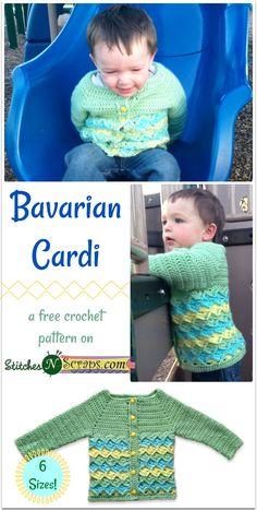 Bavarian Cardi - a free crochet pattern on Stitches N Scraps