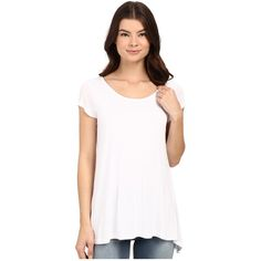 7cfde536807 Bench Observe Short Sleeve Top Women's Short Sleeve Pullover ($35) ❤ liked  on Polyvore featuring tops, v-neck shirts, cap sleeve top, drape top, white  ...