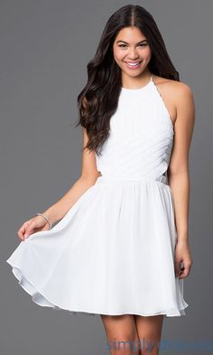 Short Sequined White Halter Dress - Brought to you by Avarsha.com