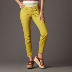 Like this color for spring! Yellow-ish green ankle jeans