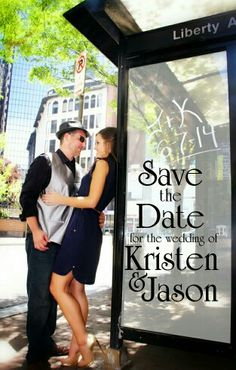 Save the date, Pittsburgh, downtown, urban chic, wedding, engagement pictures, June wedding, city life, bus stop