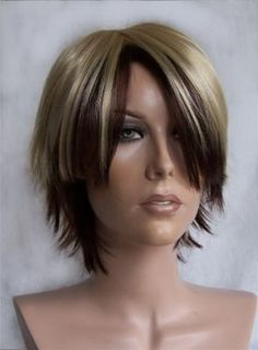 Womens Womans Golden Blonde w Deep Auburn Short Wig UK 499384ad3
