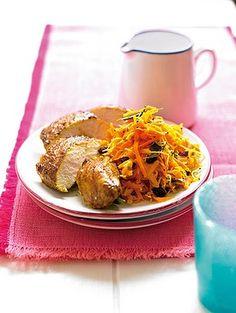 Tandoori chicken with carrot sald/ michelle bridges
