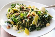 Browned butter brussels sprout salad 2 Browned Butter Kale Salad with Hazelnuts and Pears