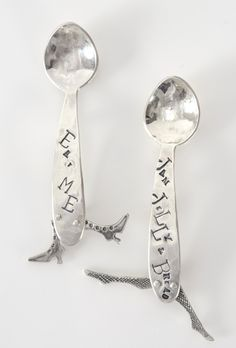 Nursery Rhyme Runcible Spoon Brooches with Articulated Legs Measuring Spoons, Brooches, Objects, Legs, Utensils, Tableware, Beautiful Things, Silver, Nursery