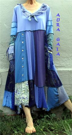AuraGaia ~Bluebell~ Poorgirl's Boho Upcycled Patchy Garden Dress fits L/XL-2X