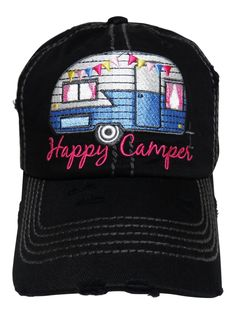 "NEW! Embroidered ""Happy Camper"" Black Vintage Style Baseball Cap! Order at www.shopspiritcaps.com!"