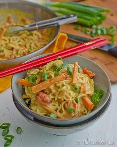 Noodles in a Creamy Coconut Peanut Sauce {vegan and gluten free} I would make this paleo.