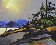 Michael O'Toole - Burst of Light (On Georgia Strait) Impressionist Landscape, Impressionism Art, Watercolor Landscape, Landscape Quilts, Landscape Art, Landscape Paintings, Landscapes, Waterfall Paintings, Art Nouveau Tiles